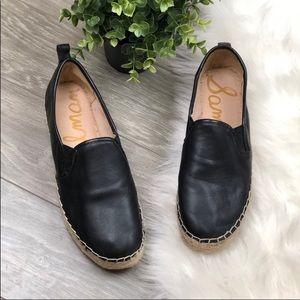 Sam Edelman black leather espadrilles